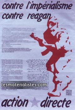 """Affiche d'AD, """"contre l'impérialisme, contre Reagan""""."""