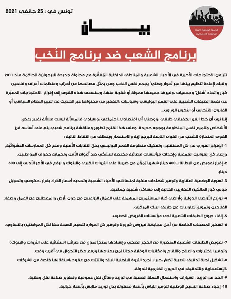 Tunisie : Le programme du peuple contre le programme des élites